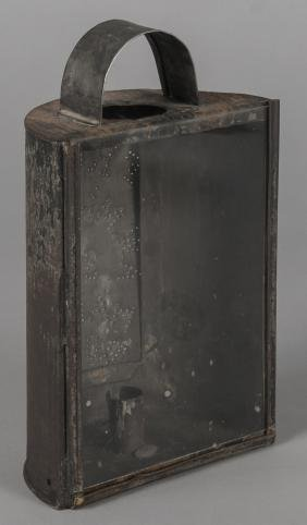 New York tin lantern, 19th c., with punched inscr