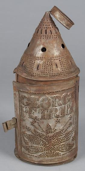 Punched tin lantern, 19th c., inscribed George P