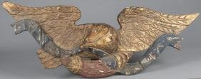 Carved and painted eagle stern board plaque, 20th