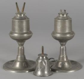 Pair of American pewter fluid lamps, 19th c., 8''