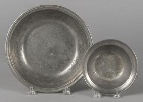Two pewter basins, 19th c., the larger marked Lo