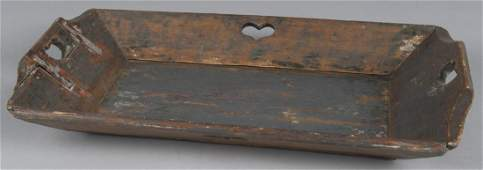 Painted pine tray 20th c with heart cutouts 1
