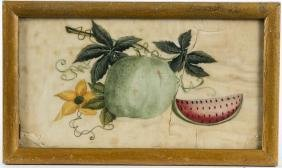Painted on pith paper of fruit, 19th c., 4'' x 7 1
