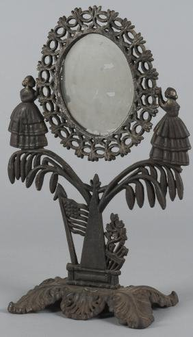 Cast iron dressing mirror, late 19th c., with two