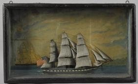Painted ship diorama, late 19th c., 11'' x 18''.