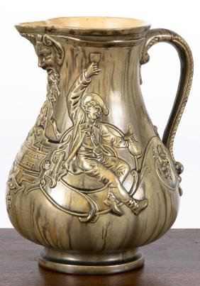 German molded pottery pitcher, ca. 1900, 9 1/4'' h
