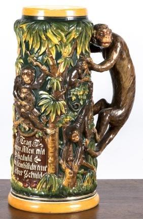 German stein, with monkey handle, 11'' h.