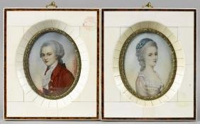 Pair of miniature watercolor portraits of a man a