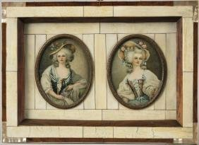 Two framed printed miniature portraits in an ivor