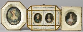 Two printed miniature portraits in ivory frames,