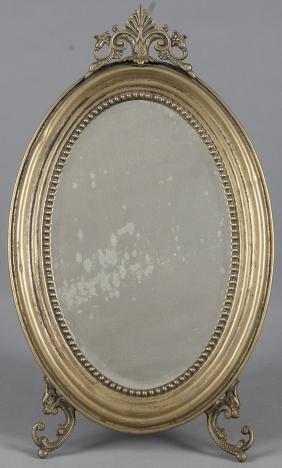 Brass dresser mirror, 18'' h.