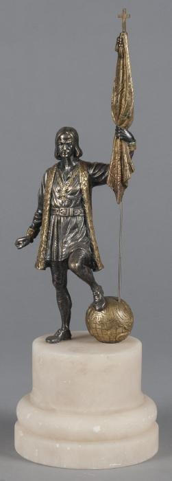 Bronze figure of Christopher Columbus, 18 3/4'' h.