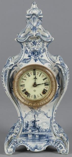 Ansonia mantel clock with Delft case, 16'' h.