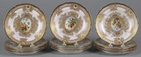 Set of twelve Dresden porcelain fruit plates, 8''