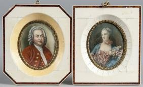 Two watercolor miniature portraits with ivory fra