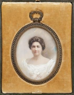 Miniature watercolor on ivory portrait of a woman