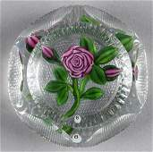Ray Banford coiled red rose paperweight with gre