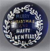 Millville New Jersey frit paperweight inscribed