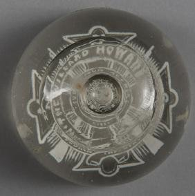 White frit commemorative military paperweight, in