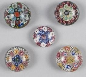 Five small Bohemian millefiori paperweights, larg