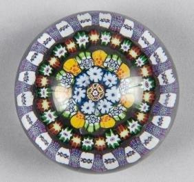 Colorful concentric millefiori paperweight, attri