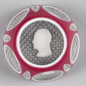 Baccarat double overlay faceted paperweight, with
