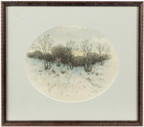 Watercolor winter landscape, signed C. Davidson