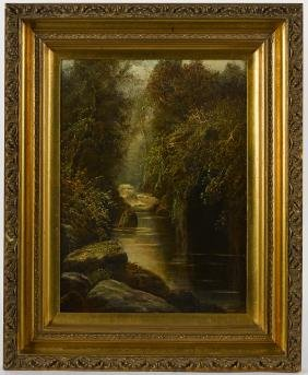 Oil on canvas landscape, late 19th c., signed El