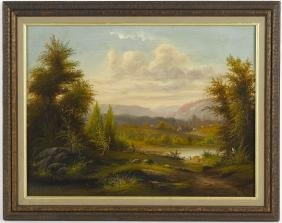 Hudson River oil on canvas landscape, 19th c., 18