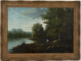 Oil on canvas river landscape with figures, early