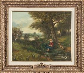 Primitive oil on canvas, 20th c., of a boy fishin