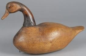 Early carved goose decoy, 19th c., with carved in