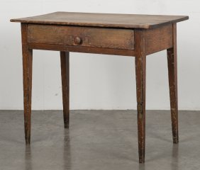 Pennsylvania painted pine work table, 19th c., re