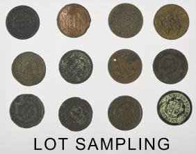Seventeen US large cents, with dates from 1820-18