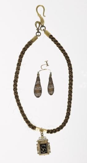 Victorian woven hair necklace with a locket penda