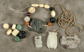 Chinese Carved Jade Pendants, Late 19th C., One W