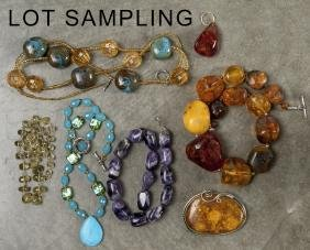 Group of semi - precious stone and costume jewelr