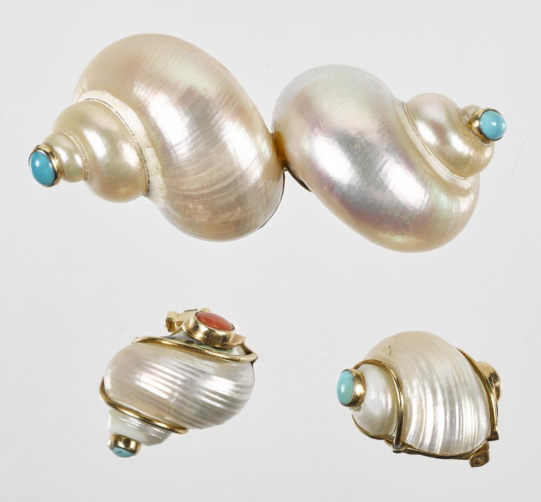 Marguerite Stix shell brooch and ear clips, ca. 1
