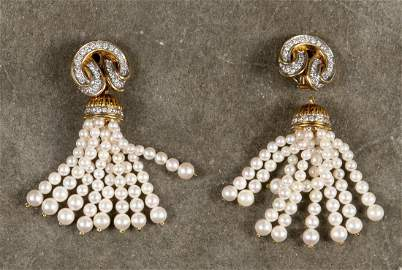 18K yellow gold, diamond and pearl ear clips, eac