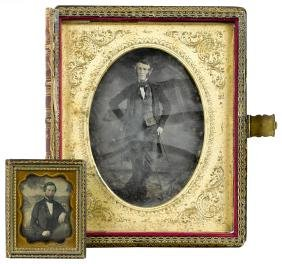 Large tin type of a gentleman in a book - form ca