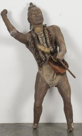 Cardboard and cloth Native American Indian displa