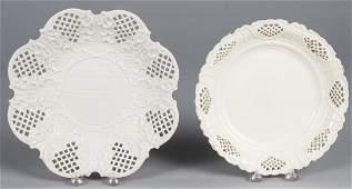 English salt glaze reticulated plate late 18th c.