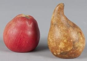Carved and painted stone fruit bookends, ca. 1900