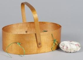 Sabbath Day Lake Shaker sewing basket, 19th c., w