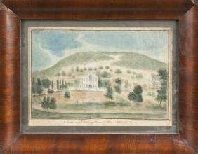 Pennsylvania watercolor landscape titled A View