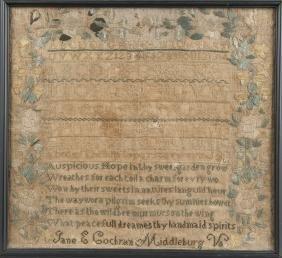 Middleburg, Virginia silk on linen sampler, ca. 1