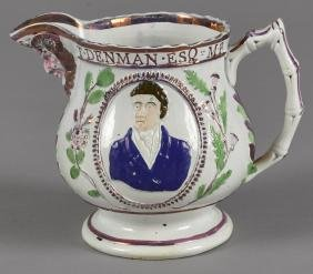 Pearlware pitcher, 19th c., with relief decoratio