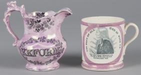 Pink lustre mug and pitcher, 19th c., with transf