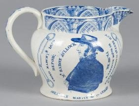 Pearlware pitcher, 19th c., with transfer decorat