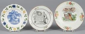 Three pearlware plates, 19th c., decorated with m
